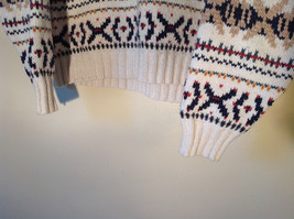 White with Navy Blue Orange Green Tan Patterned Sweater American Eagle Size L image 3