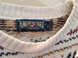 White with Navy Blue Orange Green Tan Patterned Sweater American Eagle Size L image 5