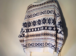 White with Navy Blue Orange Green Tan Patterned Sweater American Eagle Size L image 7
