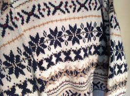 White with Navy Blue Orange Green Tan Patterned Sweater American Eagle Size L image 6
