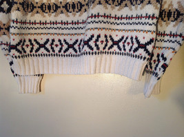 White with Navy Blue Orange Green Tan Patterned Sweater American Eagle Size L image 9