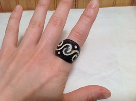 Wide Band Wooden Ring Handcrafted Double Swirl Design  Size 5 8 or 9 image 3