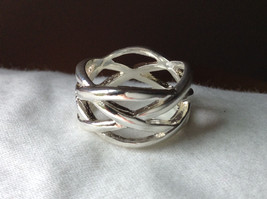 Wide Braided Bands Silver plated  Ring Size 8.5 and 8.75 Sold Separately image 6