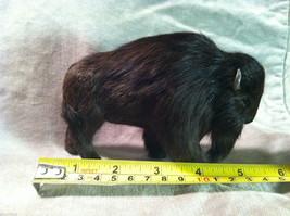 Wild Black Buffalo Animal Figurine - recycled rabbit fur image 8