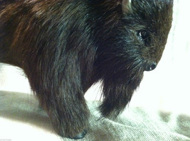Wild Black Buffalo Animal Figurine - recycled rabbit fur image 3