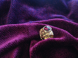 Wide Vine Pattern Sterling Silver 14K Gold Plated Garnet Ring Size Choice 7 or 8 image 5