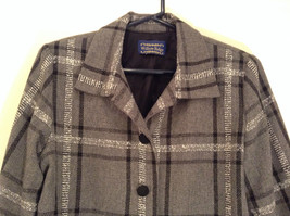 Willow Ridge Gray Black and White Pattern Long Sleeve Lined Blazer Button Front image 3