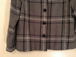 Willow Ridge Gray Black and White Pattern Long Sleeve Lined Blazer Button Front image 4