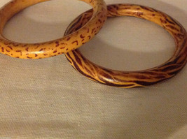Wood bangles with leopard or cheetah and 1 with zebra print set of 2 image 3