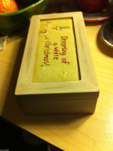 Wooden Gift Box w Stitching Top Dreaming of a White Christmas holds gift gloves image 3