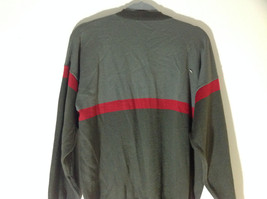 Woolite Dark Green Light Green with Red Strip Long Sleeve V-Neck Sweater No Tag image 7