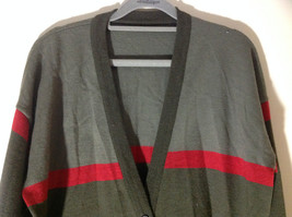 Woolite Dark Green Light Green with Red Strip Long Sleeve V-Neck Sweater No Tag image 5