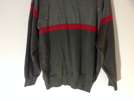 Woolite Dark Green Light Green with Red Strip Long Sleeve V-Neck Sweater No Tag image 8