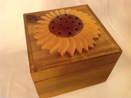 Wood Intarsia trinket box NEW with sunflower on top image 2