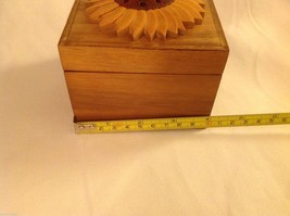 Wood Intarsia trinket box NEW with sunflower on top image 5
