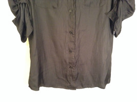 Worthington Long Sleeve Black Button Up Blouse Size M New with Tag Front Pockets image 3