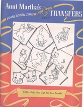 Vintage Aunt Martha's transfer #9497 Felox Cat for towels - $7.50