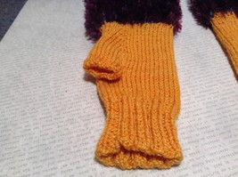 Yellow Purple Hand Knitted Woven Fuzzy Fingerless Gloves Very Soft image 2