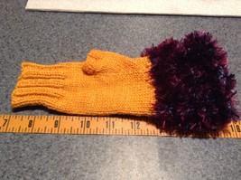 Yellow Purple Hand Knitted Woven Fuzzy Fingerless Gloves Very Soft image 4