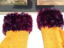 Yellow Purple Hand Knitted Woven Fuzzy Fingerless Gloves Very Soft image 3