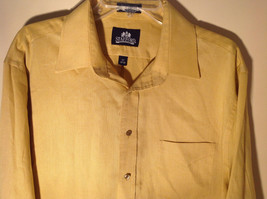 Yellow Honey Colored Button Up Collared Stafford Shirt Front Pocket Size 17 image 3