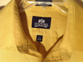 Yellow Honey Colored Button Up Collared Stafford Shirt Front Pocket Size 17 image 2