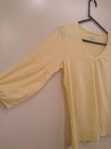 Yellow V Neck Three Quarter Length Sleeves Top New York and Company Size Medium image 2
