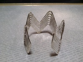 Zig Zag Pattern Handcrafted Silver Plated Cuff Bracelet 925 Sterling Silver image 4