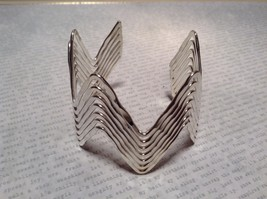 Zig Zag Pattern Handcrafted Silver Plated Cuff Bracelet 925 Sterling Silver image 2