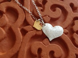 Zina Kao hand made 2 flat hearts charm necklace gold silver pearl 17 inch chain image 2