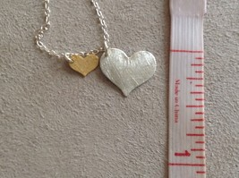 Zina Kao hand made 2 flat hearts charm necklace gold silver pearl 17 inch chain image 10