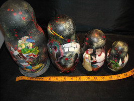 set of 10 Russian Wooden Hand Painted Nesting Dolls Medieval Soldiers vintage image 10