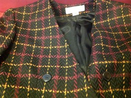 jones new york size 12 color blue with yellow and maroon lines coat blazer woman image 7