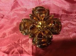 """vintage brown flower brooch 3"""" image 3"""