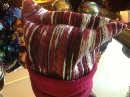 Wool hat felted with red and pink colors and texture explosion Ophelie image 3