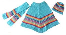 Alpakaandmore Little Girls Set of Alpaca Wool Poncho Scarf and Hat Size 5 Tur... - $42.57
