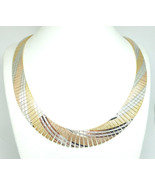 "Cleopatra Technibond Tri Color Diamond-Cut Swirl 17"" Choker Necklace - $69.00"