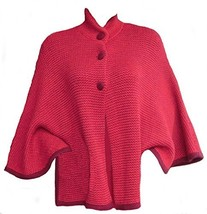 Alpakaandmore Womens Alpaca Wool Poncho Cape One Size Red Nehru Neck - $141.57