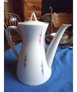 Rosenthal Coffee Pot Contemporary Floral White Violet Raymond Loewy Design - $10.89