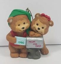 1990 Hallmark Christmas Keepsake Ornament Mom and Dad Bears Mailbox Cute - $11.40