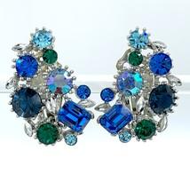 Lisner Vintage Rhinestone Earrings in Peacock Blues and Greens - $33.00