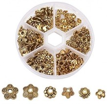 Pandahall 1 Box Assorted 6 Different Shape Tibetan Style Alloy Flower Be... - $25.38