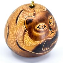 Handcrafted Carved Gourd Art Laying Cat Kitten Kitty Ornament Made in Peru image 4