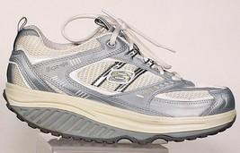 SKECHERS Shape-Ups Women's Size 8 White Silver Toning Sneakers 11814 COM... - £30.49 GBP