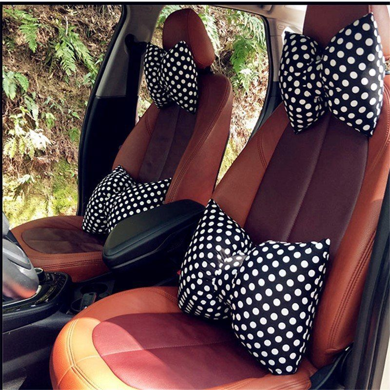 DEFOE® Creative Car Bow Knot Neck Waist Pillow Seat Backrest Headrest Car Seat