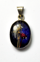 "Sterling Oval Glass Floating Wheat Flower Blue Shadow Box Pendant 1.5"" 20mm - $29.69"