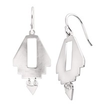 Women's Silver Earrings Navajo 925 Sterling Silver Cutout Drop Earrings NEW - $144.04