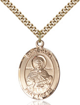 14K Gold Filled St. Daria Pendant 1 x 3/4 inch with 24 inch Chain - $135.80