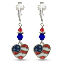 American Flag Clip Earrings-USA Flag Clip Earrings-Star Clip Earrings-Fo... - $38.99