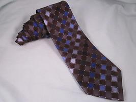 Kenneth Cole Reaction Silk Necktie Diamond Grid Brown Blue Gray White Neck Tie - $8.77